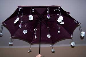 Der aufgespannte Schirm mit Geld und sonstiger Verpflegung.